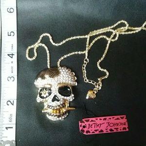 Betsy Johnson skull sweater necklace.